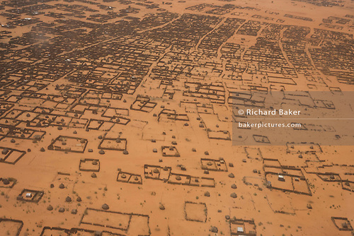 Aerial view of Al Fasher (also spelled, Al-Fashir) the front-line town ...