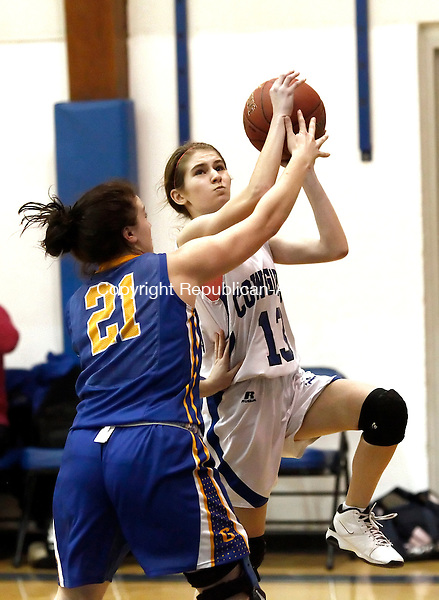 Litchfield, CT- 13 February 2013-021313CM09-  Litchfield's Sophie MacDonald goes in for a layup as Gilbert's Amanda Root defends during Berkshire League girls hoops Wednesday night in Litchfield.  The Cowgirls would go onto win, 54-15.    Christopher Massa Republican-American
