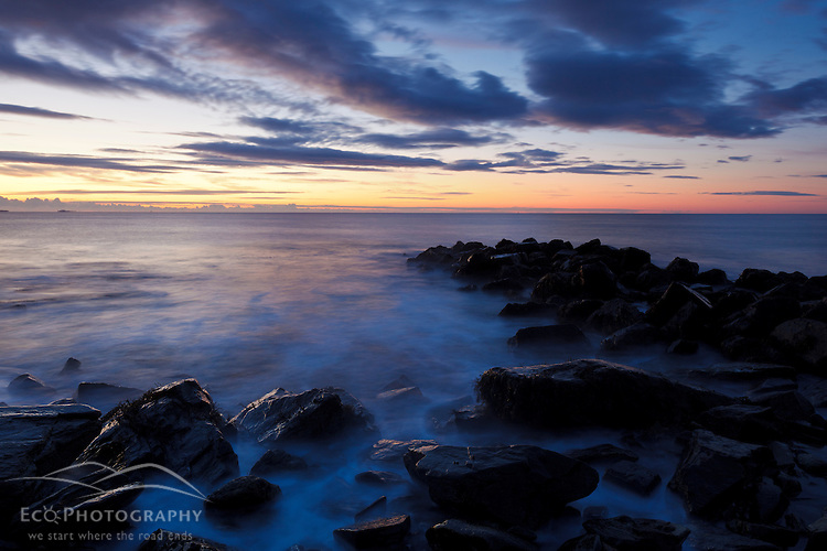 Dawn over the Atlantic Ocean in Rye, New Hampshire. Wallis Sands State Park.