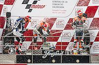 Celebration of Dani Pedrosa, Katsyuki Nakasuga and Casey Stoner, winners of Moto GP in Cheste