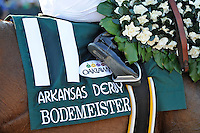 Bodemeister (no. 11), ridden by Mike Smith and trained by Bob Baffert, wins the 76th running of the grade 1 Arkansas Derby for three year olds on April 14, 2012 at Oaklawn Park in Hot Springs, Arkansas.  (Bob Mayberger/Eclipse Sportswire)