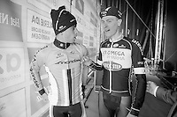 Peter Sagan (SVK/Cannondale) &amp; Niki Terpstra (NLD/OPQS) backstage before the winners ceremony<br /> <br /> 57th E3 Harelbeke 2014