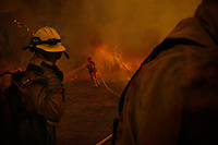 San Diego California, October 22, 2007 - Firefighters battle a blaze from the Witch Fire in Northern San Diego. The Witch fire was one of a series of about 30 wildfires that lit up Southern California from Santa Barbara to the U.S. - Mexico border. Over 1,500 homes were destroyed  and over 500,000 acres of land was burned. Nine people died as a direct result of the fires, 85 others were injured, including at least 61 firefighters. The fire was  so large it was visible from space.