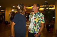 Haleiwa Hawaii, (Monday December 6, 2010) Craig Anderson (AUS with Matt Hoy (AUS).  .Monday,  40th annual SURFER Poll Awards were held tonight at Turtle Bay Resort on Oahu's North Shore..Sal Masekela (USA)  returned to serve as the Master of Ceremonies for the event with charismatic Hawaiian surf star Fred Patacchia as co-host .This year's SURFER Poll Awards were held in honor of recently lost legend, three-time World Champion Andy Irons. While acknowledging all of the surfers lost this year, the event  put a heavy focus on Andy and the legacy he leaves behind in and out of the water. Another focal point of this year's show was  Kelly Slater's 10th world title win. Touted as the world's most dominant athlete, Kelly's accomplishments have catapulted the sport of surfing and garnered the world's attention. Kelly was award the male Surfer of the Year award with Stephanie Gilmore (AUS) taking out the Female Surfer of the Year..Photo: joliphotos.com