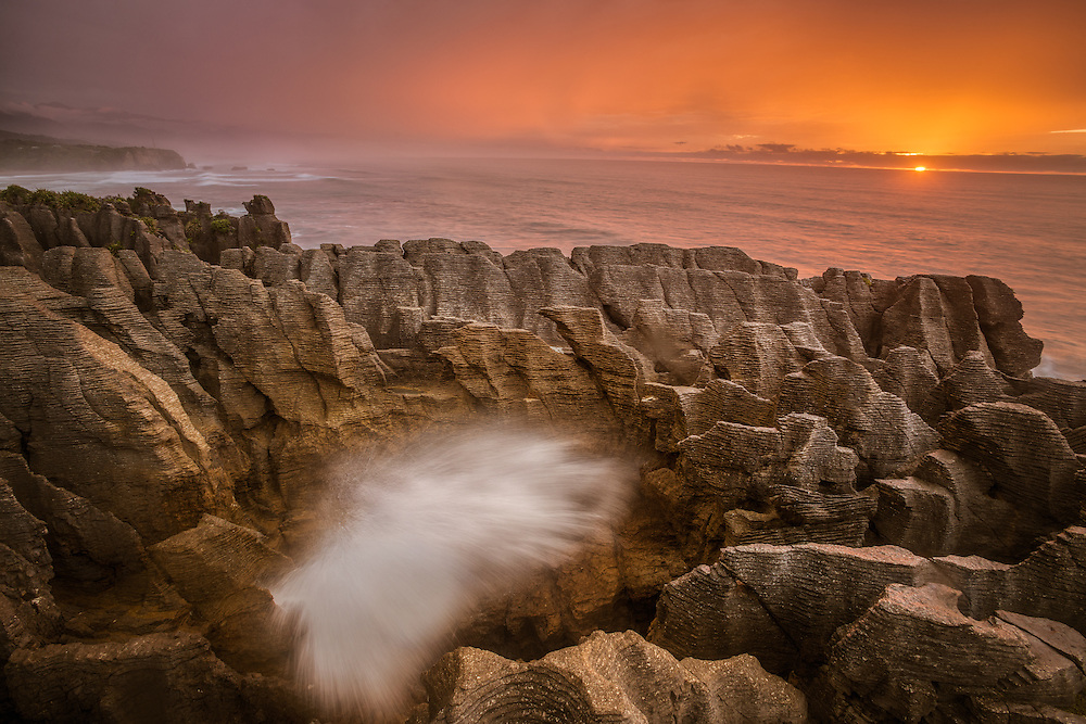 Putai Blowhole at Sunset, Punakaiki, West Coast