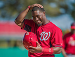 9 March 2014: Washington Nationals outfielder Brian Goodwin smiles at first during a Spring Training game against the St. Louis Cardinals at Space Coast Stadium in Viera, Florida. The Nationals defeated the Cardinals 11-1 in Grapefruit League play. Mandatory Credit: Ed Wolfstein Photo *** RAW (NEF) Image File Available ***