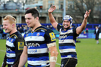 Leroy Houston of Bath Rugby celebrates after the match. Aviva Premiership match, between Bath Rugby and London Irish on March 5, 2016 at the Recreation Ground in Bath, England. Photo by: Patrick Khachfe / Onside Images
