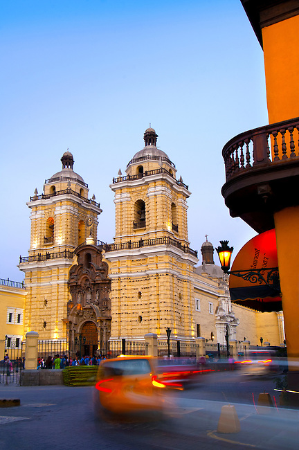 The Spanish baroque styled San Francisco Church and Monastery built in the late 1600's in historic downtown Lima, Peru.