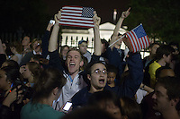 Crowds celebrate the death of Osama bin Laden in front of the White House on Sunday, May 1, 2011  in Washington.  (Photo by Jay Westcott/Politico)