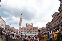 Fish eye view of the Piazza del campo in Siena before the Palio starts