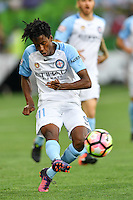 Melbourne, 6 January 2017 - BRUCE KAMAU (11) of Melbourne City kicks the ball in the round 14 match of the A-League between Melbourne City and Western Sydney Wanderers at AAMI Park, Melbourne, Australia. Melbourne won 1-0 (Photo Sydney Low / sydlow.com)