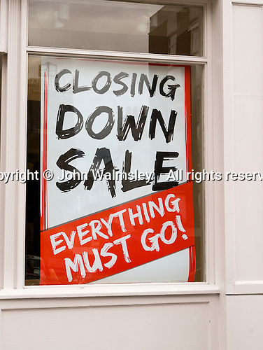 Outdoor clothing store, Blacks, closing down due to the recession.