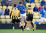East Fife v St Johnstone...09.07.14  Pre-Season Friendly<br /> Saints trialist Thomas Tsitas is blocked by Lewis Barr and Kevin Smith<br /> Picture by Graeme Hart.<br /> Copyright Perthshire Picture Agency<br /> Tel: 01738 623350  Mobile: 07990 594431