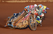 Heat 8: Robert Mear (blue) and Jason Doyle  (yellow) takes a fall - Lakeside Hammers vs Swindon Robins at the Arena Essex Raceway, Pufleet - 18/06/12 - MANDATORY CREDIT: Rob Newell/TGSPHOTO - Self billing applies where appropriate - 0845 094 6026 - contact@tgsphoto.co.uk - NO UNPAID USE..