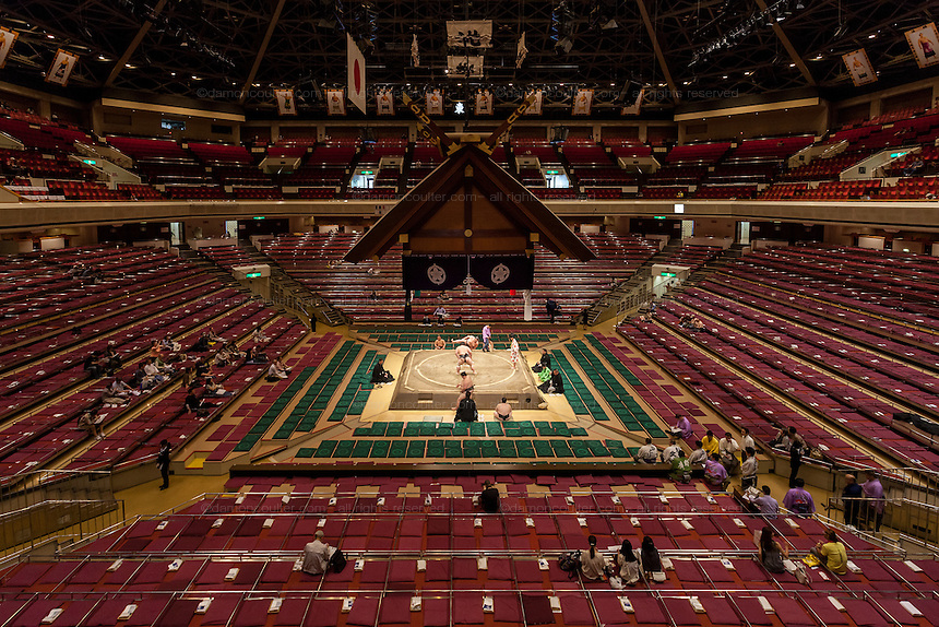 Overview image of the interior of the Ryogoku Sumo Arena during the  Sumo tournament Tokyo, Japan. Friday May 13th 2016