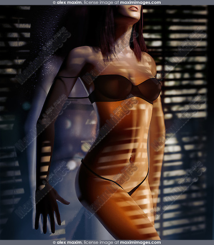 Beautiful woman in black underwear standing at night leaning against glass with light from the window falling on her body. Photorealistic 3D illustration.
