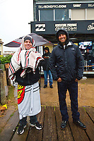 JEFFREYS BAY, South Africa (Sunday, July 24, 2011) - Coaches Chrs Gallagher (USA) and Garth Tarlow (USA). The final day of the Billabong Pro Jeffreys Bay, Event No. 4 of 11 on the 2011 ASP World Title season, was  called ON this morning with the Quarterfinals commencing at 7:30am. .After navigating a period of tricky swell, event organisers were greeted with howling onshore winds, driving rain and a six foot choppy swell. Despite the trying conditions Jordy Smith (ZAF) went back to back wins defeating Mick Fanning (AUS) in the 35 minute final..  Photo: joliphotos.com