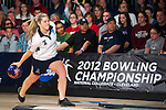 14 APR 2012: Megan Kelly (21) of Fairleigh Dickson bowls during the Division I Womens Bowling Championship held at Freeway Lanes in Wickliffe, OH.  The University of Maryland Eastern Shore defeated Fairleigh Dickinson 4-2 to win the national title.  Jason Miller/NCAA Photos