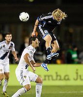 Steven Lenhart of Earthquakes fights for the ball in the air against Omar Gonzalez of LA Galaxy during the game at Buck Shaw Stadium in Santa Clara, California on November 7th, 2012.   LA Galaxy defeated San Jose Earthquakes, 3-1.