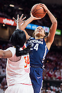 College Park, MD - DEC 29, 2016: Connecticut Huskies guard/forward Napheesa Collier (24) shots a jump shot over Maryland Terrapins forward Brianna Fraser (34) during the game between No. 1 UConn and the No. 3 Terrapins at the XFINITY Center in College Park, MD. UConn defeated Maryland 87-81. (Photo by Phil Peters/Media Images International)