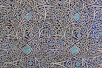 Detail of majolica tiling, winter mosque, Kukhna Ark, Khiva, Uzbekistan, pictured on July 6, 2010, in the afternoon. The Kukhna Ark is the original home of the Khans. Although its foundations are 5th century, most of the complex is 19th century. Khiva, ancient and remote, is the most intact Silk Road city. Ichan Kala, its old town, was the first site in Uzbekistan to become a World Heritage Site(1991). Picture by Manuel Cohen.