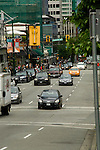 Traffic in Robson street down town Vancouver,British Columbia, Canada
