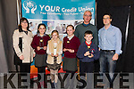 Winners of the Cahersiveen Credit Union Primary Schools Table Quiz A Section were St Finians NS Waterville pictured l-r; Elma Shine(Manager CCU), Holly Galvin, Clodagh Dwyer, Mary O'Connell, Marcus Draper, Gearoid Moran(Principal) & John Casey(CCU).