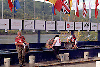 Dawson City, YT, Yukon Territory, Canada - Competitors panning for Gold at World Gold Panning Championships