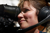 CHARLOTTESVILLE, VA- NOVEMBER 26:  A female camera person films during the game on November 26, 2011 at the John Paul Jones Arena in Charlottesville, Virginia. Virginia defeated Green Bay 68-42. (Photo by Andrew Shurtleff/Getty Images) *** Local Caption ***