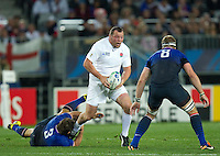 Rugby World Cup Auckland  England v France  Quarter Final 2 - 08/10/2011.STEVE THOMPSON  (England)  running with the ball.Photo Frey Fotosports International/AMN Images