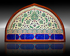 Glazed ceramic Ottoman arabesque Iznik Polychrome Lunette  tiled  window facade. In the Pavillion of the Istanbul Archaeological Museum, Inv. 41/545.