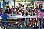 Neighbors gather together for  National Night Out at Montclaire Elementary School in Los Altos, CA August 6.