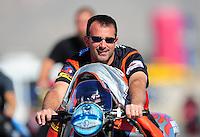 Oct. 29, 2011; Las Vegas, NV, USA: NHRA pro stock motorcycle rider Eddie Krawiec during qualifying for the Big O Tires Nationals at The Strip at Las Vegas Motor Speedway. Mandatory Credit: Mark J. Rebilas-