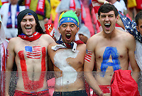USA fans with painted chests cheer their team on