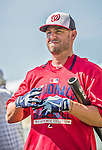 21 March 2015: Washington Nationals infielder Kevin Frandsen awaits his turn in the batting cage prior to a Spring Training Split Squad game against the Atlanta Braves at Champion Stadium at the ESPN Wide World of Sports Complex in Kissimmee, Florida. The Braves defeated the Nationals 5-2 in Grapefruit League play. Mandatory Credit: Ed Wolfstein Photo *** RAW (NEF) Image File Available ***