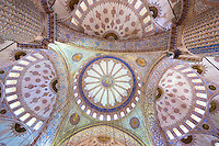 Embellished ornate domes of the Blue Mosque, Sultanahmet Camii or Sultan Ahmed Mosque in Istanbul, Republic of Turkey