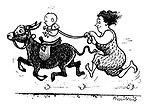 (A mother running holding on to her baby's reins as it canters off on a donkey)