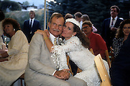 Ketchum, Idaho, U.S.A, August, 5th,1989. Jack Hemingway and his second wife  Angela Holvey at their wedding party.