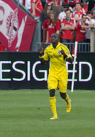 18 May 2013: Columbus Crew foward/midfielder Dominic Oduro #11celebrates his goal during an MLS game between the Columbus Crew and Toronto FC at BMO Field in Toronto, Ontario Canada..The Columbus Crew won 1-0...