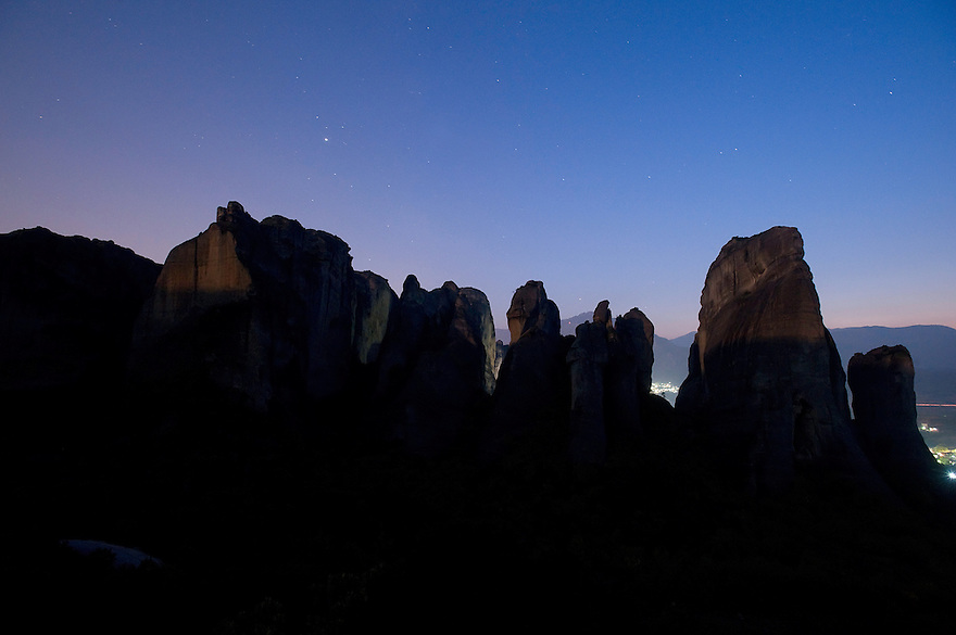 Greece, Meteora, cliffs in light of rising Moon