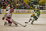 24 November 2013: University of Vermont Catamount Defenseman Rob Hamilton, a Freshman from Calgary, Alberta, takes a shot as University of Massachusetts Minutemen Forward Troy Power, a Redshirt Junior from Camarillo, CA, attempts a block during the second period at Gutterson Fieldhouse in Burlington, Vermont. The Cats wore special camouflage jerseys to celebrate Military Appreciation Day. The game-worn jerseys were auctioned off with proceeds benefiting the Vermont Veterans Fund (VVF). The Catamounts shut out the Minutemen 2-0 to sweep the 2-game home-and-away weekend Hockey East Series. Mandatory Credit: Ed Wolfstein Photo *** RAW (NEF) Image File Available ***