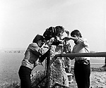 Beatles 1967 George Harrison and John Lennon film Magical Mystery Tour at Newquay ..© Chris Walter..