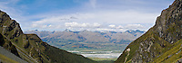 view across Dart river valley to Richardson mountains, New Zealand