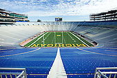 8/14/08 Construction at Michigan Stadium: east and west structures, field and bowl perspectives, club/box/suite seating areas.