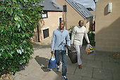 Father helping his new student son move in, University of Surrey.