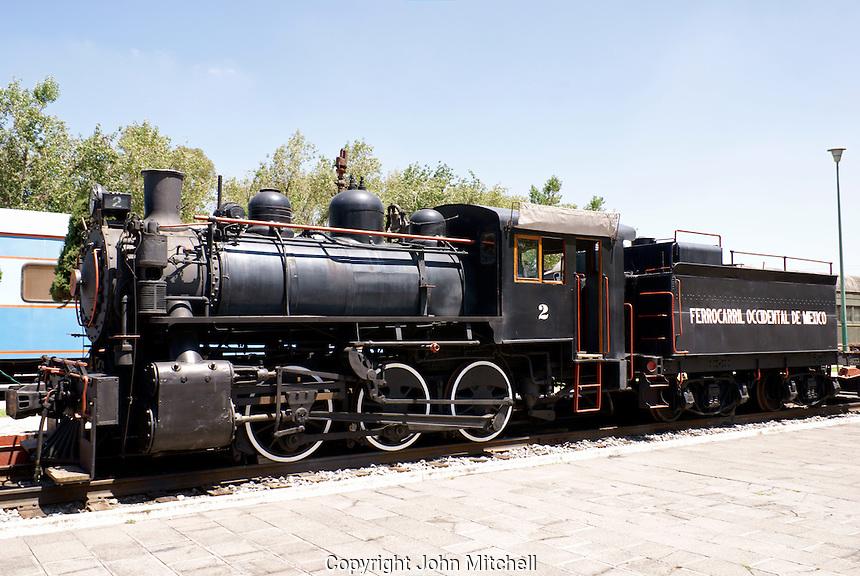 Steam locomotive at the Museo Nacional de los Ferrocarriles Mexicanos or National Railway Museum in the city of Puebla, Mexico