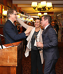 Dick Scanlan, Jeanine Tesori and Mike Isaacson attends the The Robert Whitehead Award presented to Mike Isaacson at Sardi's on May 10, 2017 in New York City.