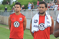 Marcelo Saragosa (11) of D.C. United left and Carlos Ruiz (20) right at the signing of the National Anthem. D.C. United defeated the The New England Revolution 3-1 in the Quarterfinals of Lamar Hunt U.S. Open Cup, at the Maryland SoccerPlex, Tuesday June 26 , 2013.