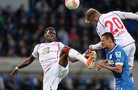 Fussball 1. Bundesliga 2012/2013: Relegation  Bundesliga / 2. Liga  TSG 1899 Hoffenheim  - 1. FC Kaiserslautern          23.05.2013 Mohamadou Idrissou (li)  und Mitchell Weiser (v.l., beide 1. FC Kaiserslautern) gegen Sejad Salihovic (re, TSG 1899 Hoffenheim)