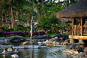Sculpture of spear fisherman at the Humuhumu Restaurant, Grand Wailea Resort, Maui